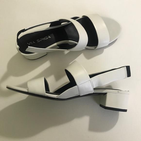 70a53b075e Via Spiga Shoes | Tiana Leather Block Heel Sandal | Poshmark